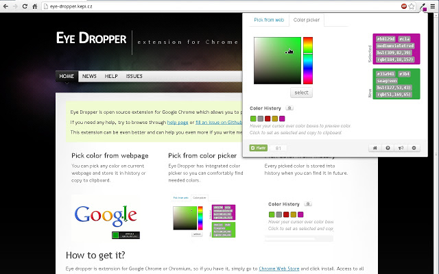 Eye Dropper Google Chrome Extensions