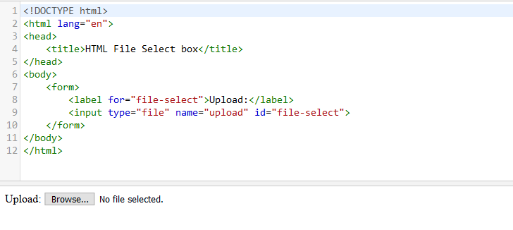 html form file select